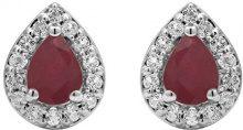 Jewelili Donna 925 argento Pera rosso Rubino Topazio FASHIONEARRING