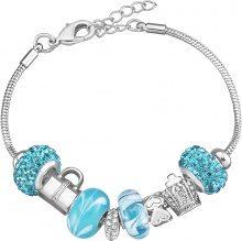 Bracciale charms in metallo rodiato, resina e cristalli per Donna