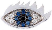Delfina Delettrez - Orecchino 'Eyes on me piercing' con diamanti e zaffiri - women - 18kt White Gold/Diamond/Sapphire/Black Diamond - One Size - Blu