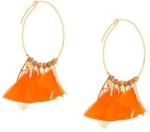 Gas Bijoux - Marly hoop earrings - women - glass/24kt Gold Plated Metal/Feather - OS - YELLOW & ORANGE