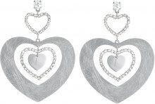 Orecchini cuore pendenti in bronzo rodiato e cristalli