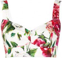 Dolce & Gabbana - Bustino con stampa a fiori - women - Cotone/Polyamide/Spandex/Elastane/Viscose - 38 - Bianco