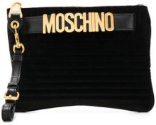 - Moschino - logo belt clutch - women - fibra sintetica - Taglia Unica - di colore nero