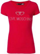 Love Moschino - T-shirt con logo di strass - women - Cotone/Spandex/Elastane - 40 - Rosso