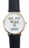 Orologio da polso donna All you need is love amore romantico Trend Fun al quarzo oro/bianco/nero lw1506
