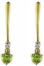 Ivy Gems - Orecchini a pendente in oro giallo 9 k con peridoto e diamante