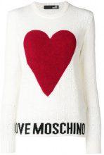 Love Moschino - logo heart embroidered sweater - women - Polyamide/Viscose/Cashmere/Wool - 38, 40, 42, 44 - NUDE & NEUTRALS