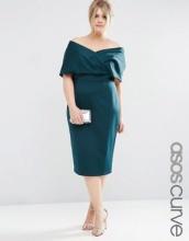 ASOS CURVE - Vestito premium midi fasciante in tessuto scuba con piega effetto mantella