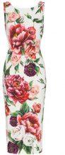 Dolce & Gabbana - sleeveless peony print fitted dress - women - Viscose/Spandex/Elastane/Silk - 38, 40, 42, 44, 46 - PINK & PURPLE
