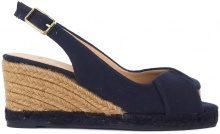 Sandalo con zeppa Castañer Brianda in tela naturale blu scuro