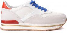 Sneaker Hogan H222 in pelle e mesh bianca rossa e oro