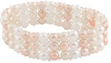 Bella Pearls FINENECKLACEBRACELETANKLET, colore: White and Pink, cod. BSR-20MU