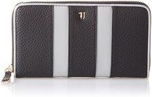 Trussardi Jeans Stripe, Portafoglio Donna, Nero, 19x10.5x2 cm