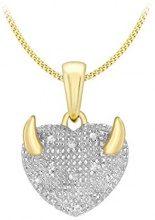 Carissima Gold Collana con Pendente da Donna in Oro Giallo 9K (375) con Diamante 0.07ct, 46 cm