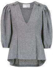 - Lilly Sarti - pleat Berthe blouse - women - cotone - 40 - di colore grigio