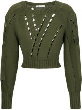 T By Alexander Wang - cut-detail sweater - women - Cotone/Nylon - S, M - Verde