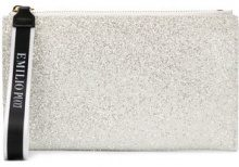 Emilio Pucci - top zip glittered clutch - women - Polyester - One Size - Bianco
