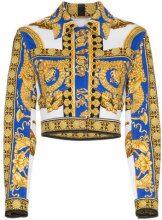 Versace - Pillow Talk print cropped denim jacket - women - Cotone/Spandex/Elastane - 38, 40, 42, 44 - WHITE