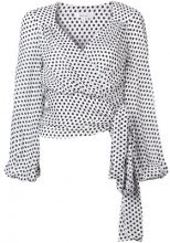 Milly - polka dot wrap front blouse - women - Silk - S - Bianco