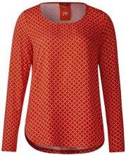 Street One Printed Round Bottom Shirt, T-Shirt Donna, Orange (Baked Orange 21083), 40 (Taglia Produttore: 34)