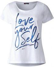 Street One 312272, T-Shirt Donna, Bianco (White 20000), 44 (Taglia Produttore: 38)
