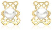 Carissima Gold - Orecchini a Perno da Donna in Oro Giallo 9K (375) con Perle