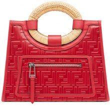 Fendi - Runaway shopper bag - women - Calf Leather/Polyamide/Polyurethane/Straw - OS - Rosso