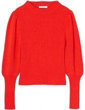 FIND Pullover con Manica a Sbuffo Arricciata Donna, Rosso (rosso), 40 (Taglia Produttore: X-Small)