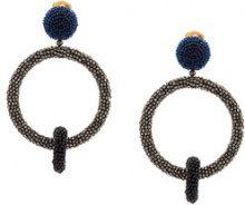 Oscar de la Renta - Orecchini con doppio cerchio - women - glass/metal/copper/Brass - OS - Blu