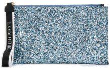 - Emilio Pucci - two - tone zip clutch - women - fibra sintetica/pelle di vitello/cotonefibra sinteticafibra sintetica - Taglia Unica - di colore blu