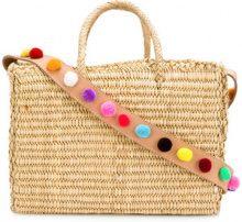 - Nannacay - pom pom strap basket bag - women - Leather/Acrylic/Straw - Taglia Unica - Color carne & neutri