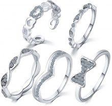 Set di 5 anelli con decorazione strass
