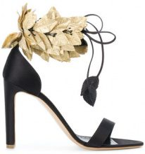 Rupert Sanderson - Sandali con fascia decorata - women - Leather/Silk - 38, 38.5, 39 - Nero