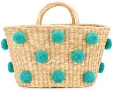 Nannacay - woven pom pom bag - women - Acrylic/Straw - OS - Color carne & neutri
