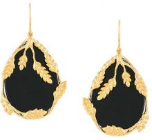 Aurelie Bidermann - Francoise earrings - women - Gold Plated Brass/Onyx - OS - Nero
