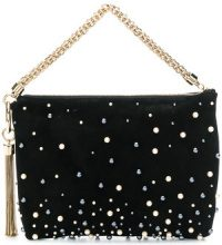 Jimmy Choo - Callie pearl-embellished clutch - women - Silk/Plastic/Viscose/Goat Suede - One Size - Nero