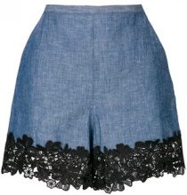 See By Chloé - Shorts con bordi in pizzo - women - Cotone/Hemp/Polyester - 38, 36 - Blu