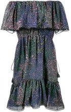 Chloé - Vestito con spalle scoperte - women - Cotone/Silk/Metallized Polyester/Polyester - 42 - Blu
