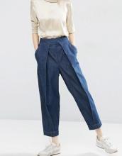 ASOS White - Mom jeans con pieghe sul davanti