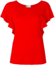 Lanvin - Top con maniche increspate - women - Viscose/Spandex/Elastane - 38 - RED