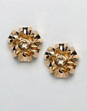 Orecchini appariscenti dorati con fiori in metallo