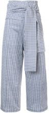 Silvia Tcherassi - cropped gingham trousers - women - Cotone/Spandex/Elastane - M - Blu
