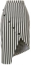 Altuzarra - button detailed striped asymmetric hem skirt - women - Cotone/Spandex/Elastane/Polyester/Viscose - 36, 40, 42 - Nero