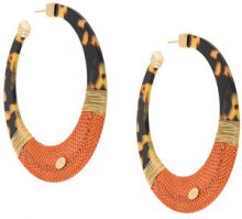 - Gas Bijoux - Lodge hoop earrings - women - Leather/24kt Gold Plate/Acetate - Taglia Unica - Marrone