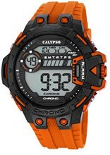 Calypso-Orologio da polso da uomo digitale, con Display LCD digitale e cinturino in plastica, colore: arancione, K5696/4