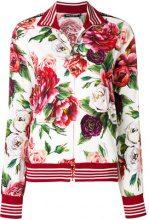 Dolce & Gabbana - peony print zip-up sweatshirt - women - Spandex/Elastane/Viscose - 38, 40, 42, 44, 36 - Bianco