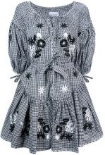 Innika Choo - gingham embroidered floral dress - women - Linen/Flax - OS - Nero