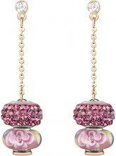Orecchini in metallo rosato, resina e cristalli per Donna
