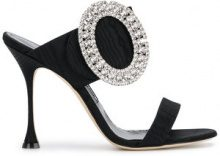 Manolo Blahnik - Sandali con fibbia oversized - women - Silk Satin/Leather - 36, 36.5, 37, 38.5, 39, 40, 41 - Nero