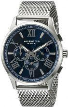 Akribos XXIV-Orologio da uomo al quarzo con Display analogico e cinturino in acciaio INOX color argento AK844SSBU